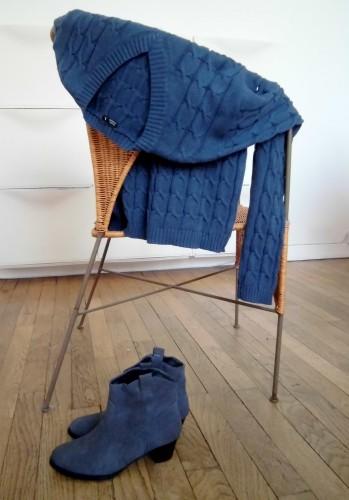 pull bleu en coton